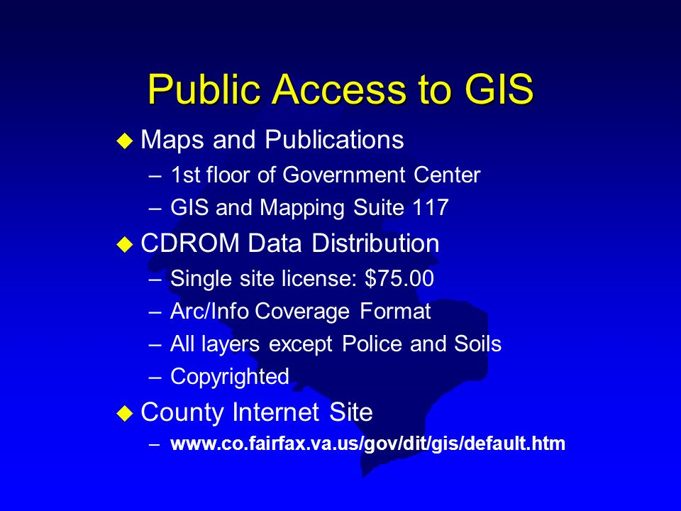 Public Access to GIS Maps and Publications CDROM Data Distribution