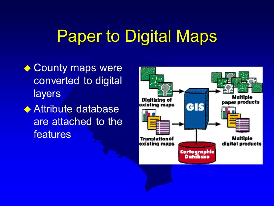 Paper to Digital Maps County maps were converted to digital layers