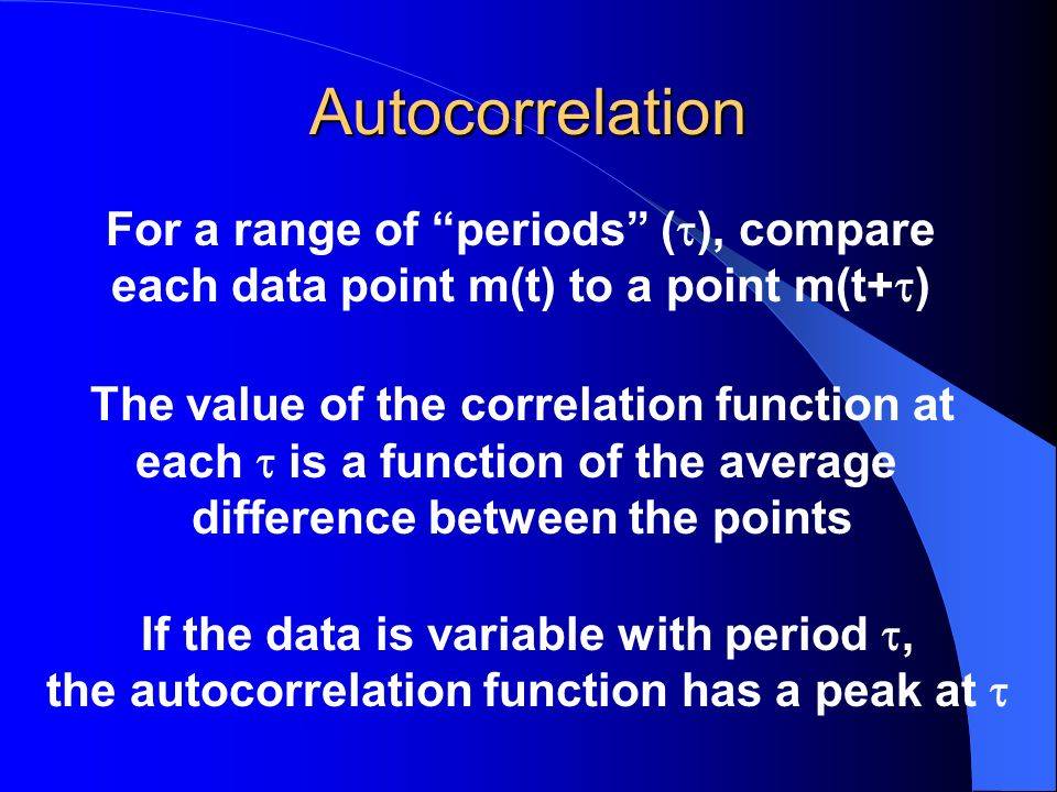 Autocorrelation For a range of periods (), compare