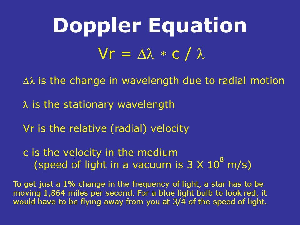 Doppler Equation Vr = Dl * c / l