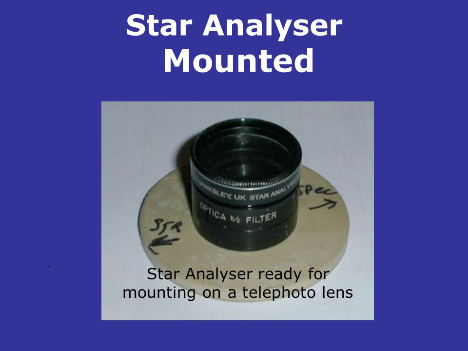Star Analyser ready for mounting on a telephoto lens
