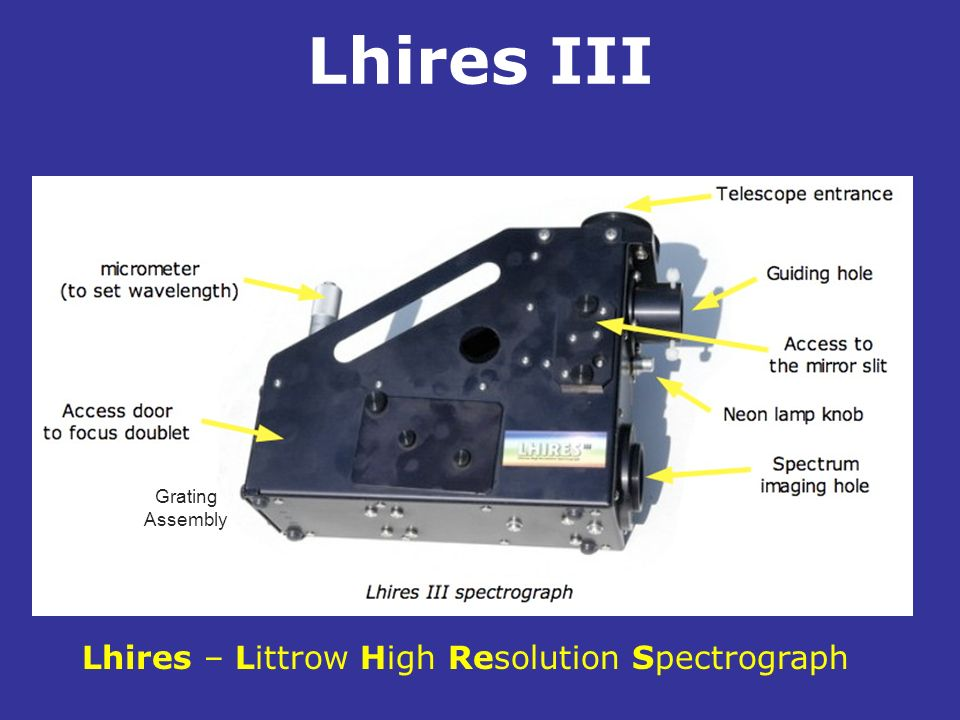 Lhires III . Lhires – Littrow High Resolution Spectrograph Grating