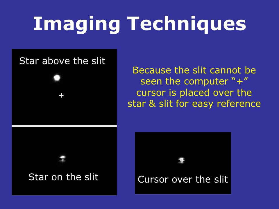 Imaging Techniques Star above the slit