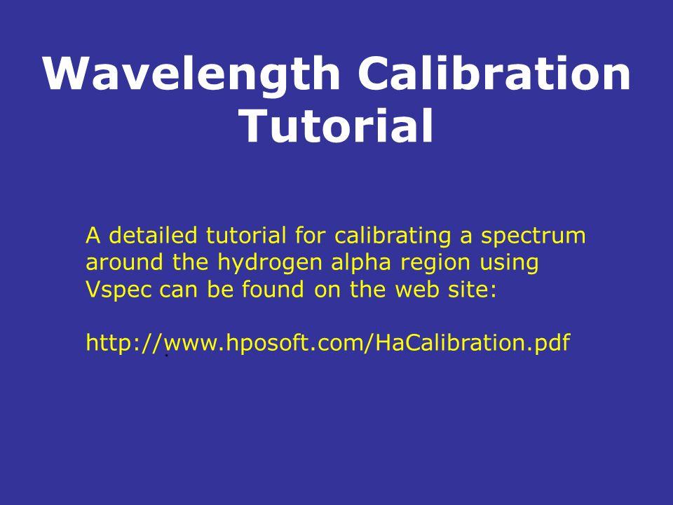 Wavelength Calibration Tutorial