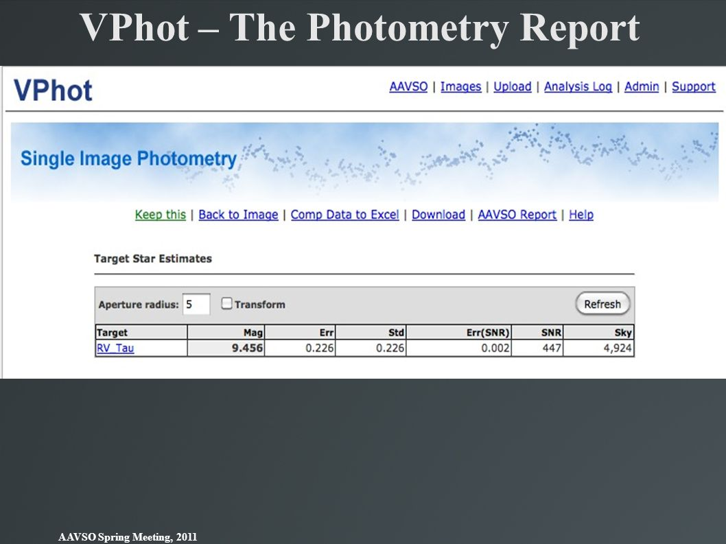 VPhot – The Photometry Report