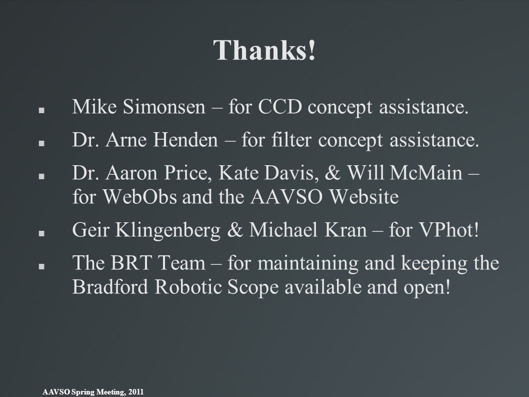 Thanks! Mike Simonsen – for CCD concept assistance.