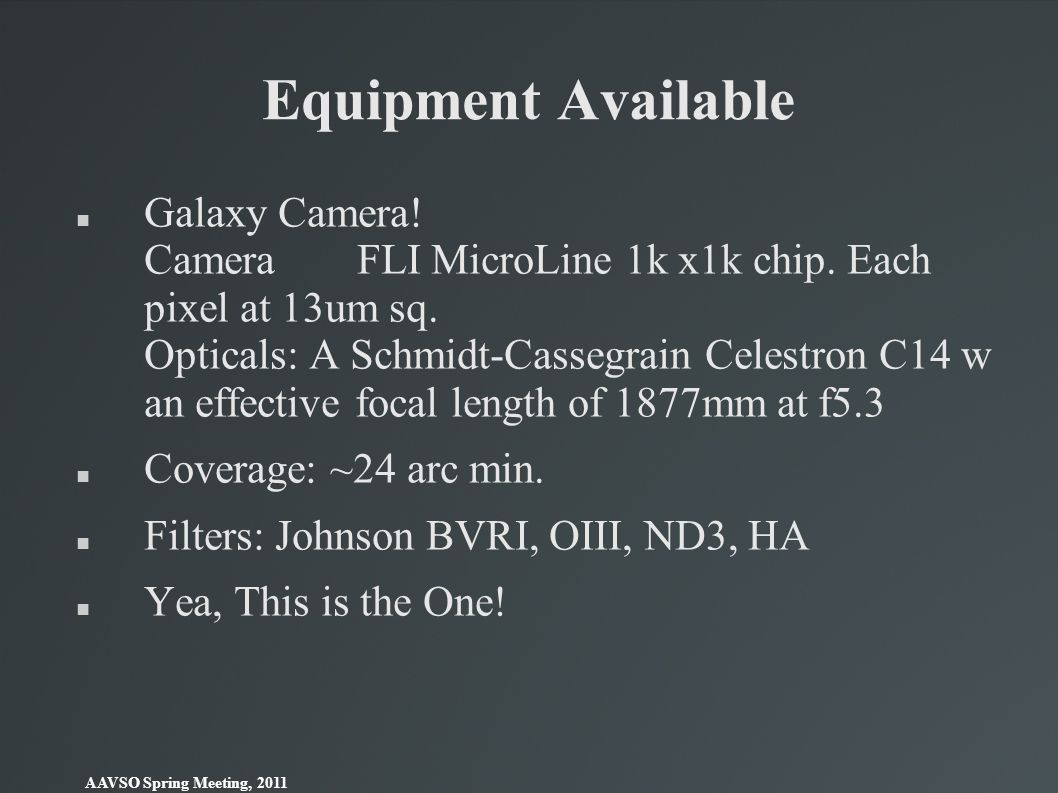 Equipment Available