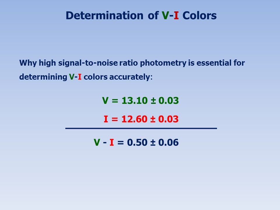 Determination of V-I Colors