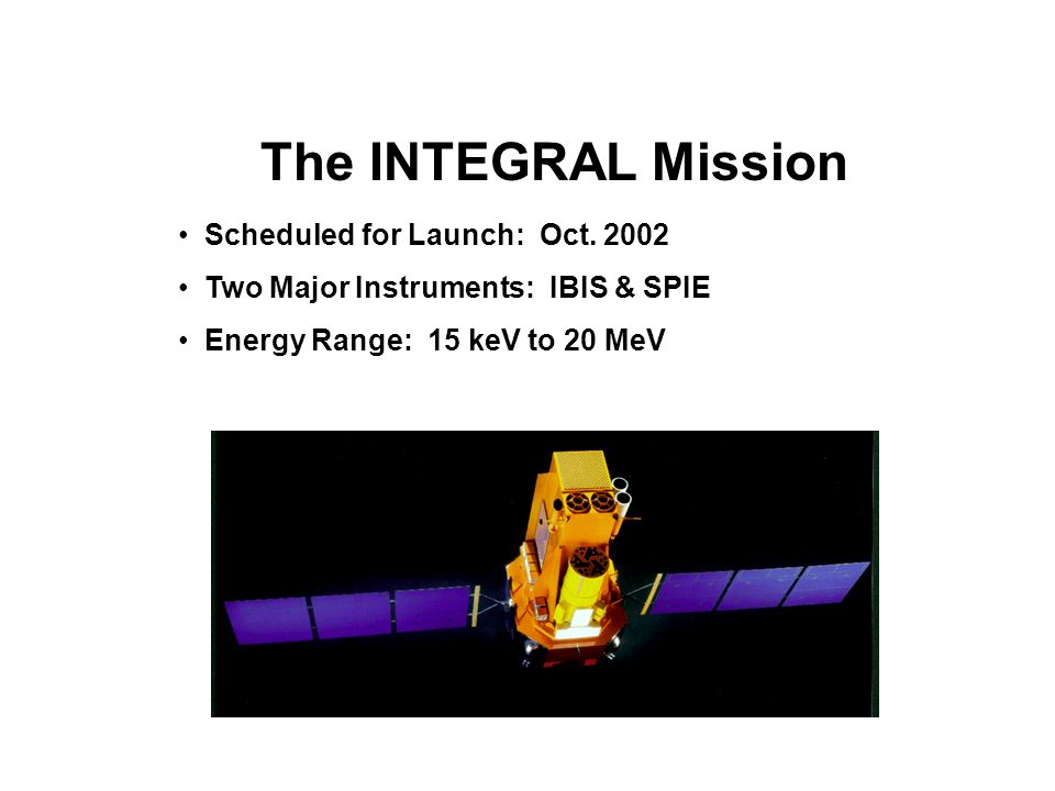 The INTEGRAL Mission Scheduled for Launch: Oct. 2002