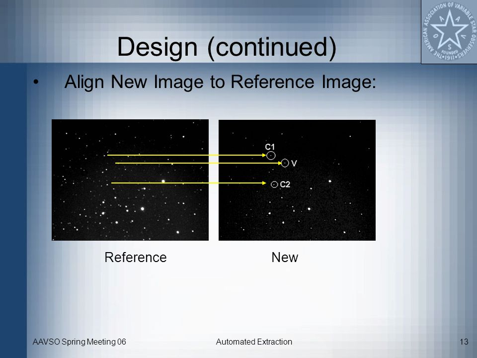 Design (continued) Align New Image to Reference Image: Reference New