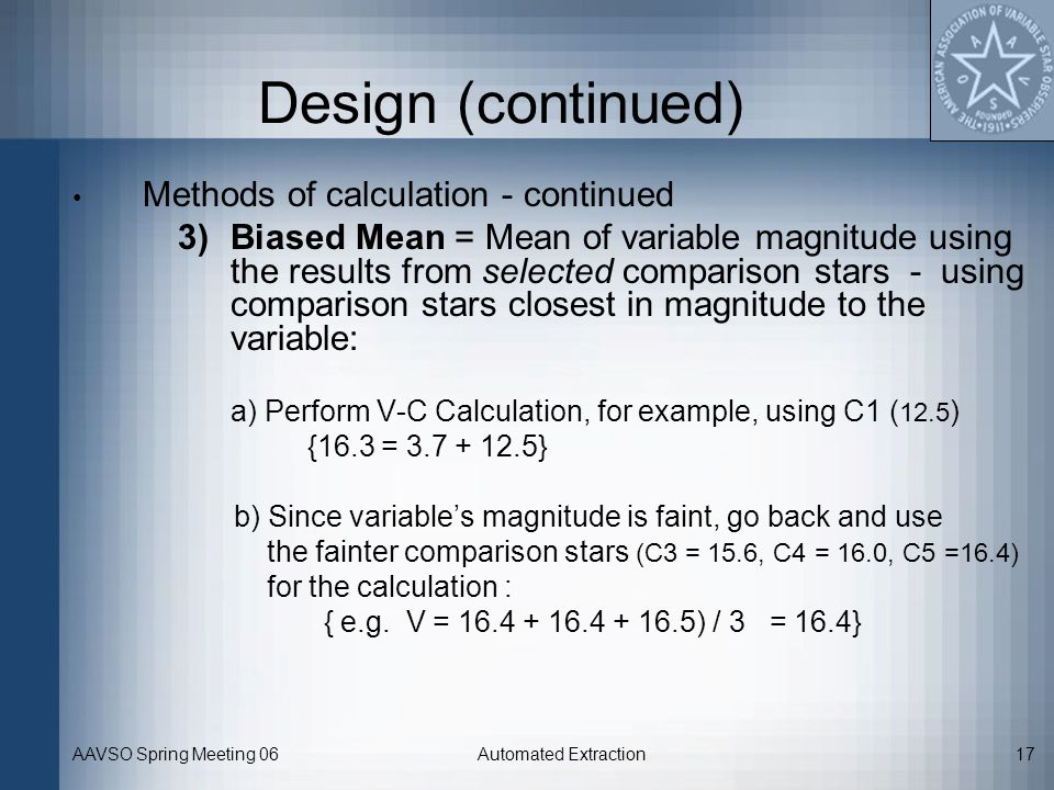 Design (continued) Methods of calculation - continued