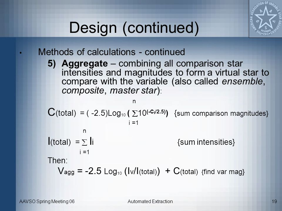 Design (continued) Methods of calculations - continued.