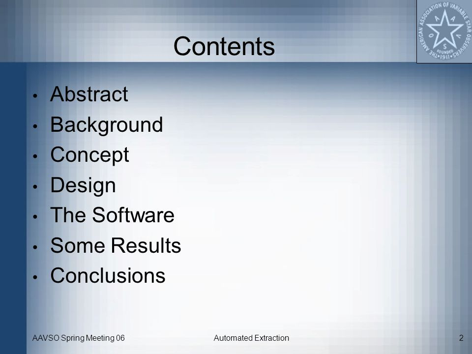 Contents Abstract Background Concept Design The Software Some Results