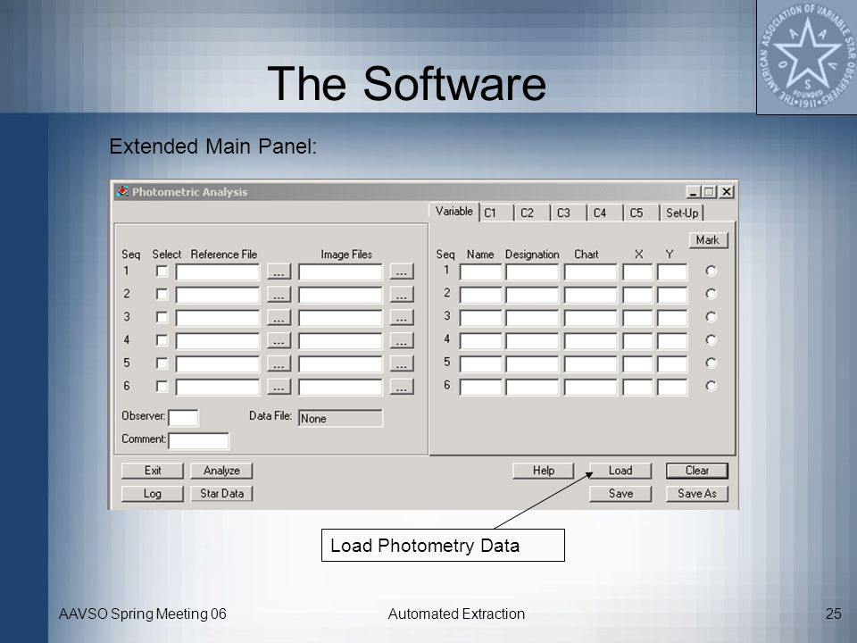 The Software Extended Main Panel: Load Photometry Data