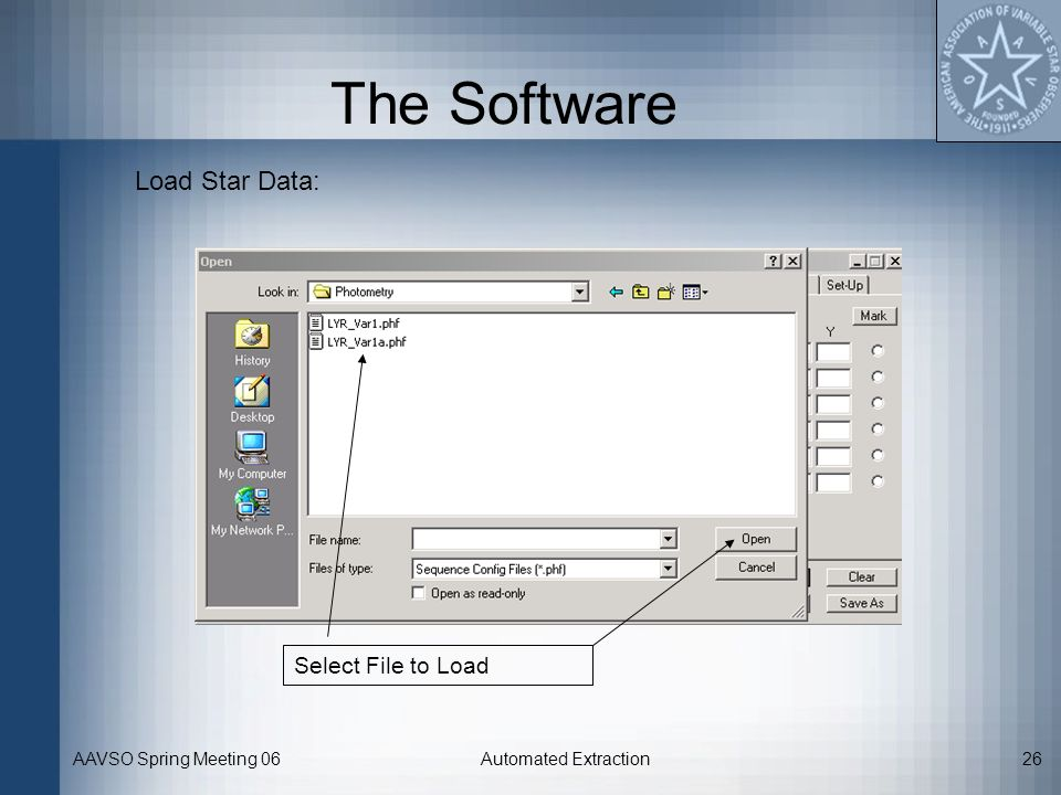 The Software Load Star Data: Select File to Load