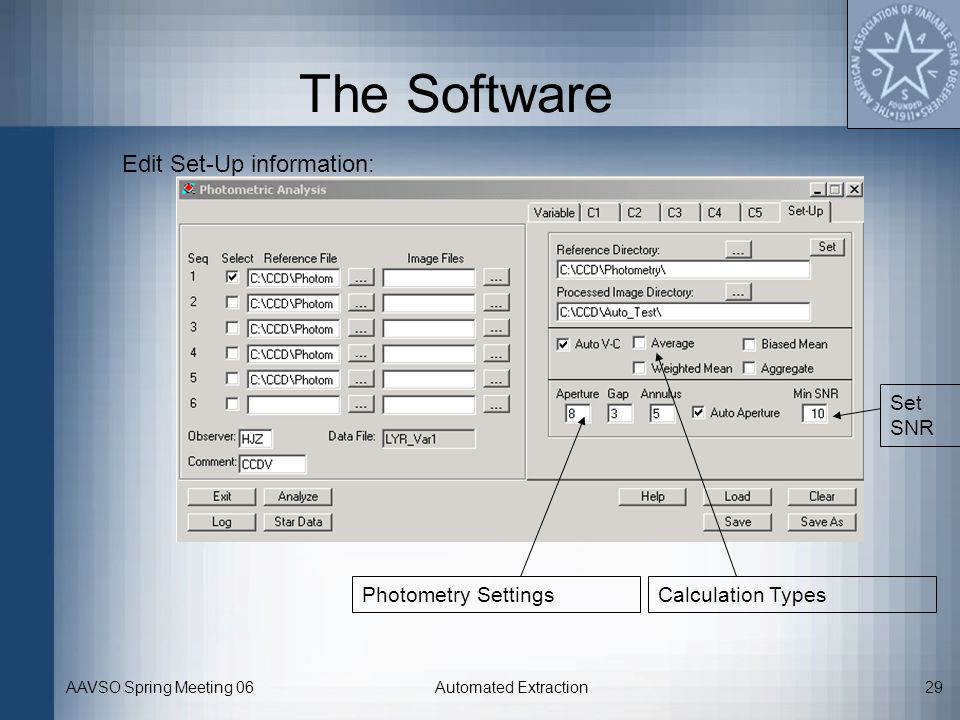 The Software Edit Set-Up information: Set SNR Photometry Settings