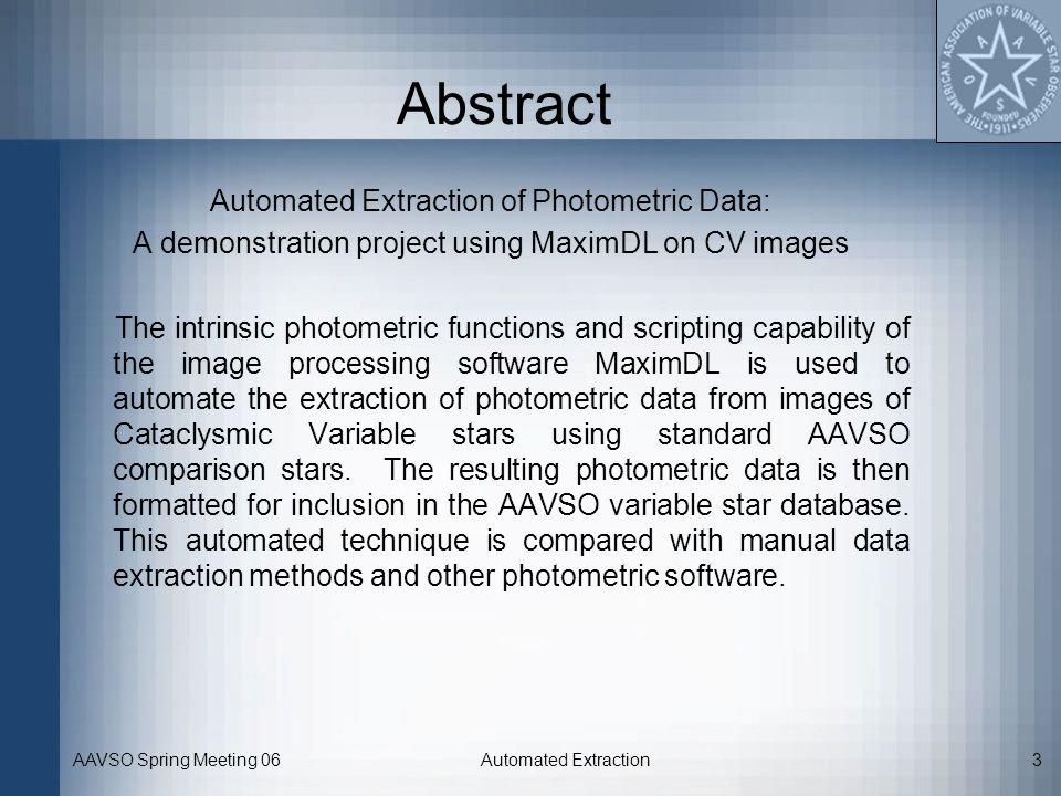 Abstract Automated Extraction of Photometric Data: