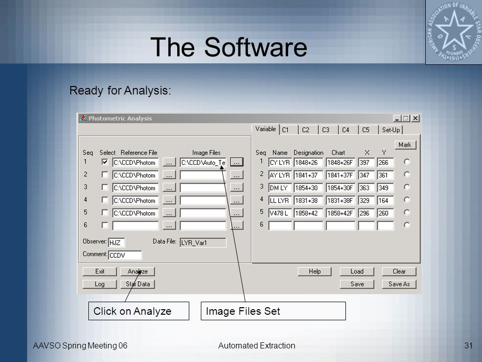 The Software Ready for Analysis: Click on Analyze Image Files Set