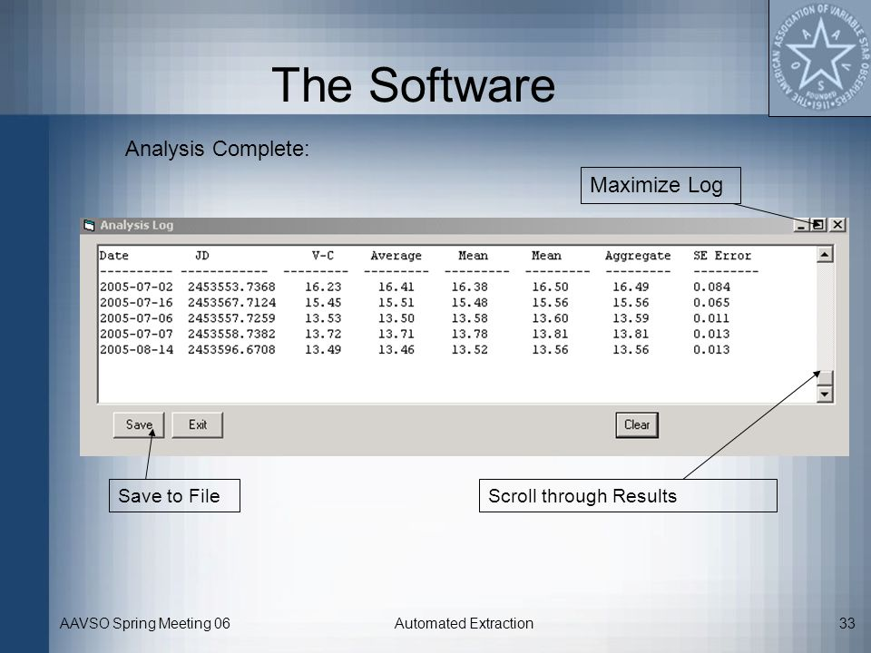 The Software Analysis Complete: Maximize Log Save to File