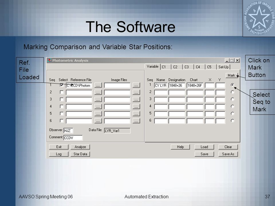 The Software Marking Comparison and Variable Star Positions: