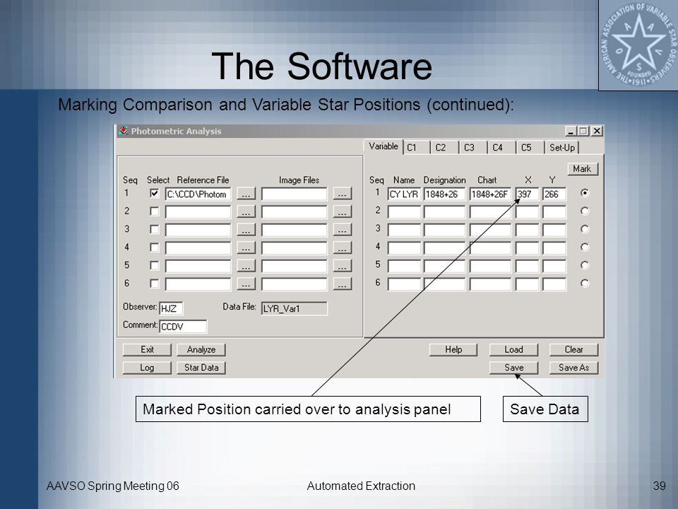 The Software Marking Comparison and Variable Star Positions (continued): Marked Position carried over to analysis panel.