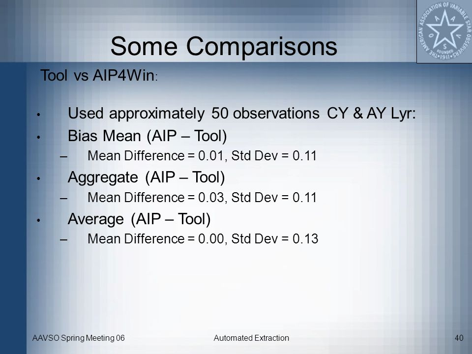 Some Comparisons Tool vs AIP4Win: