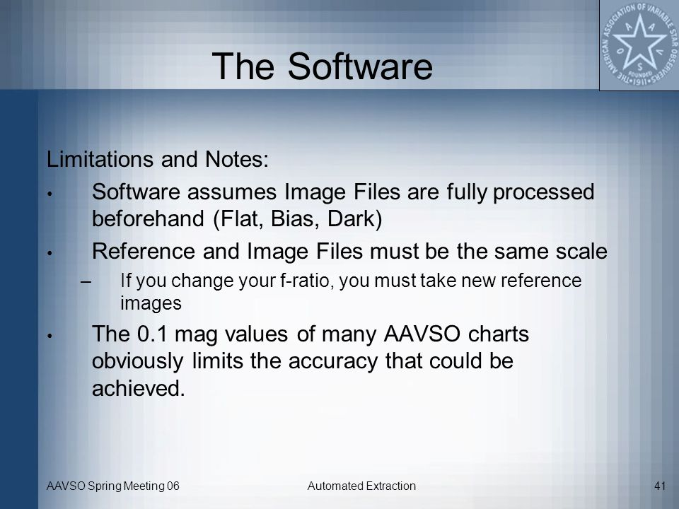 The Software Limitations and Notes: