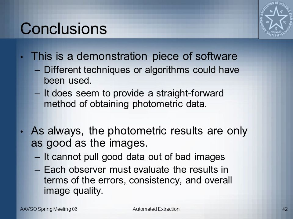 Conclusions This is a demonstration piece of software