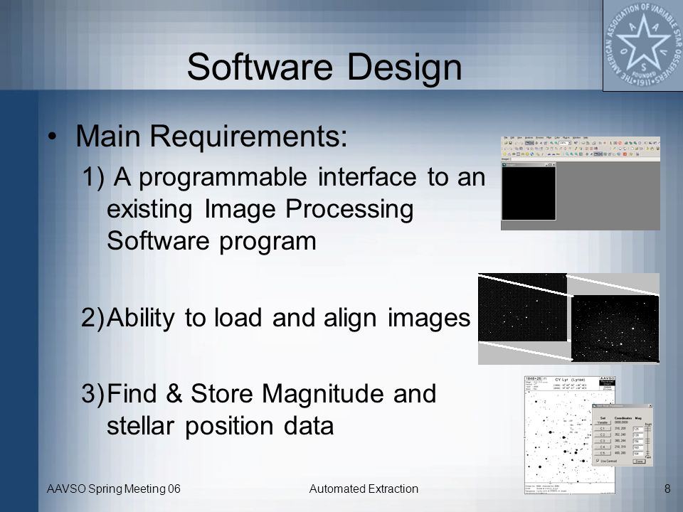 Software Design Main Requirements: