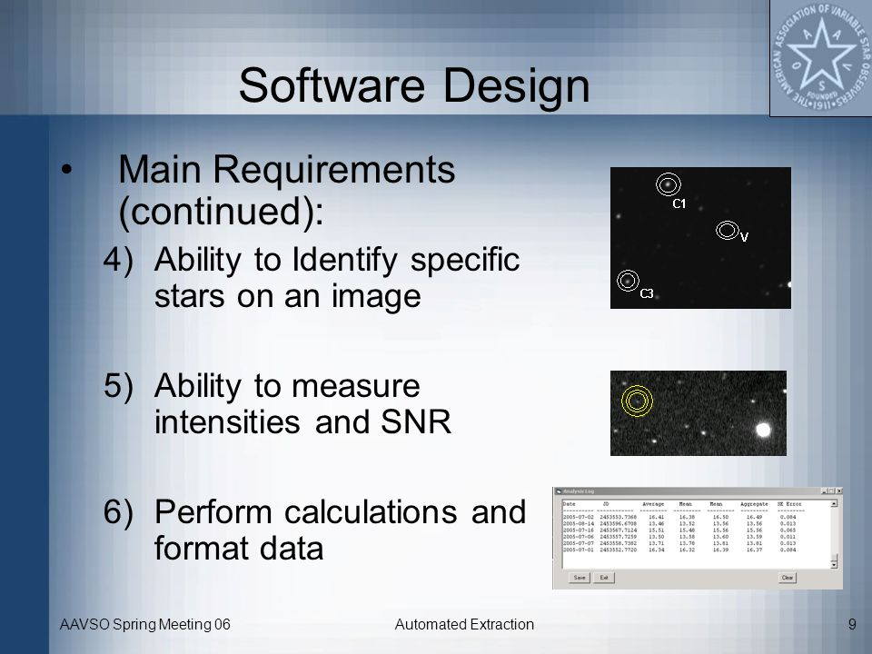 Software Design Main Requirements (continued):