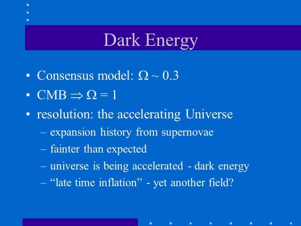 Dark Energy Consensus model:  ~ 0.3 CMB   = 1