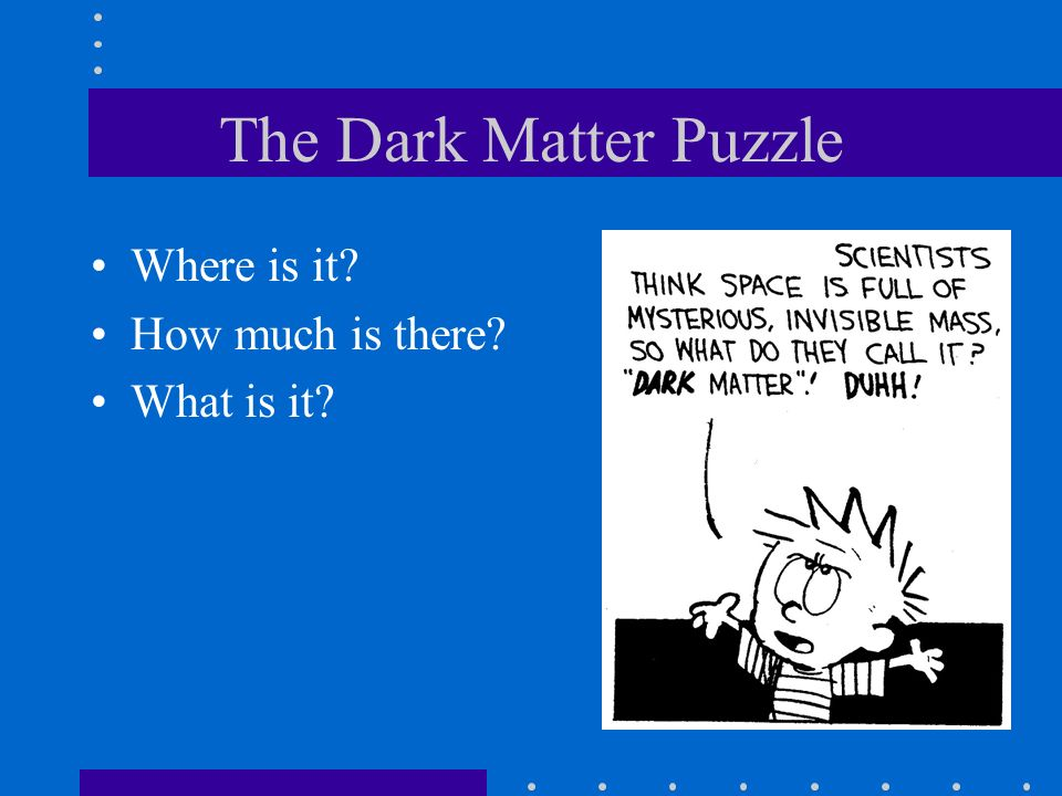 The Dark Matter Puzzle Where is it How much is there What is it