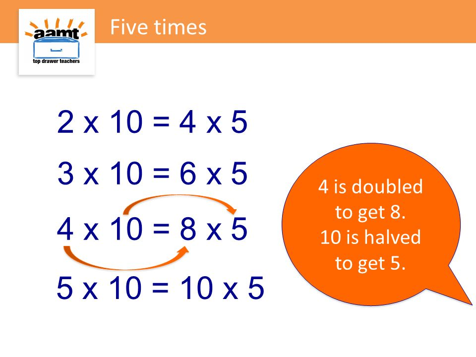 Five times 2 x 10 = 4 x 5. 4 is doubled to get 8. 10 is halved to get 5. 3 x 10 = 6 x 5. 4 x 10 = 8 x 5.