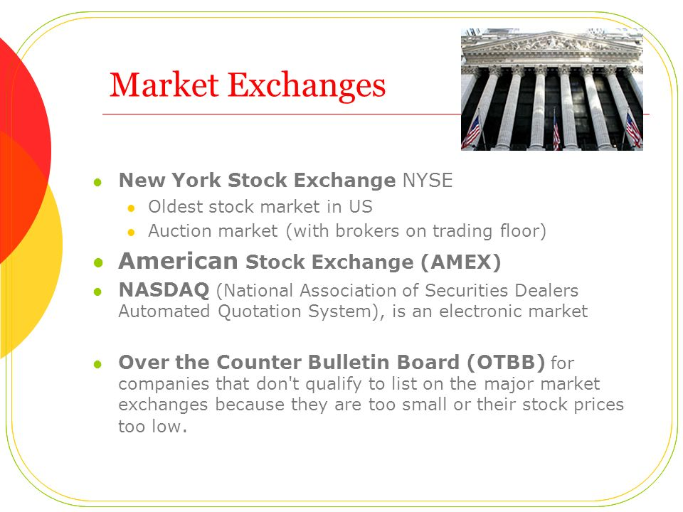 Market Exchanges American Stock Exchange (AMEX)