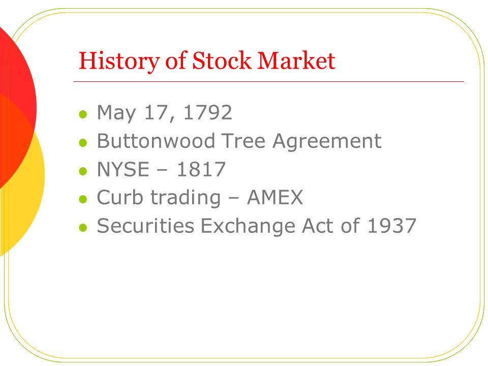 History of Stock Market