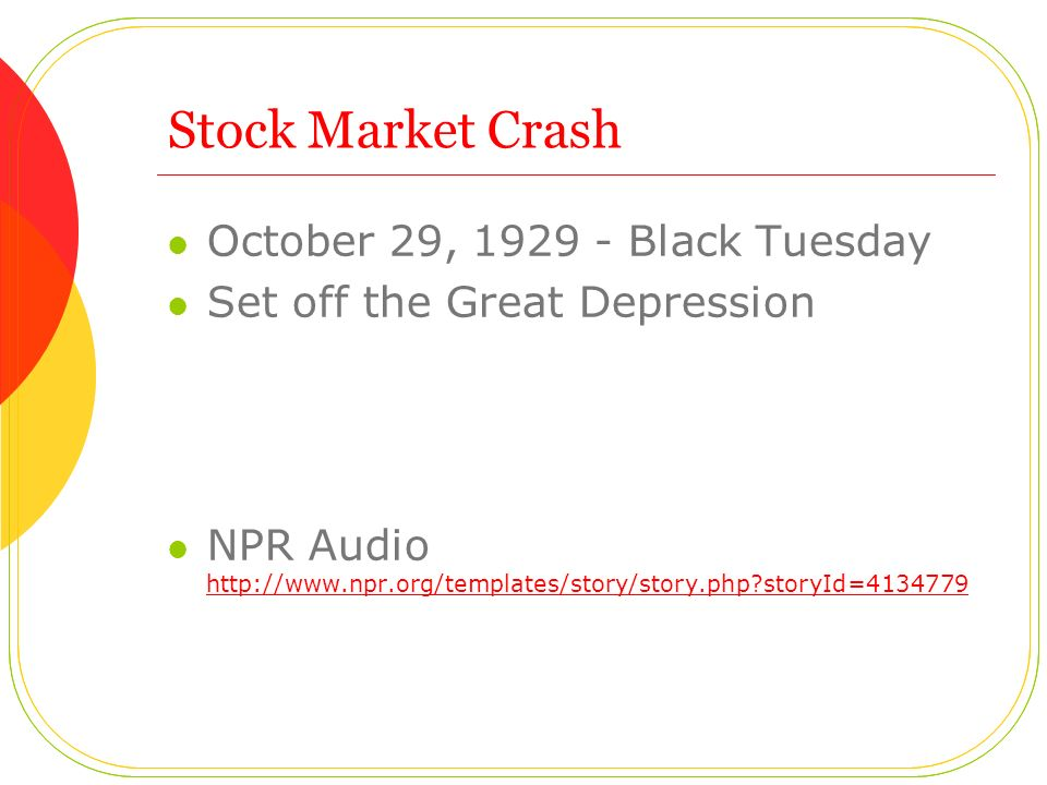 Stock Market Crash October 29, Black Tuesday