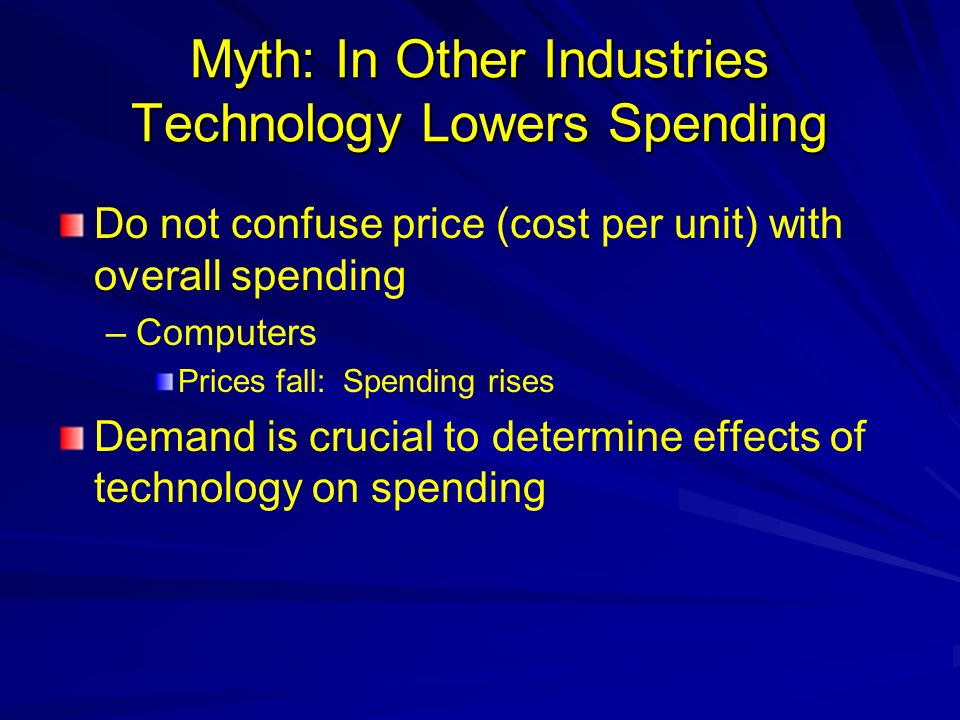 Myth: In Other Industries Technology Lowers Spending