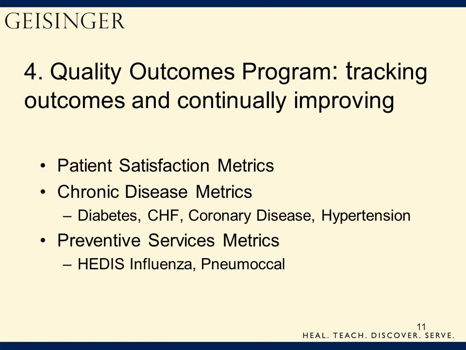 4. Quality Outcomes Program: tracking outcomes and continually improving