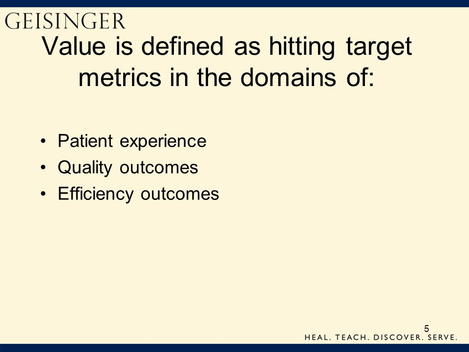 Value is defined as hitting target metrics in the domains of: