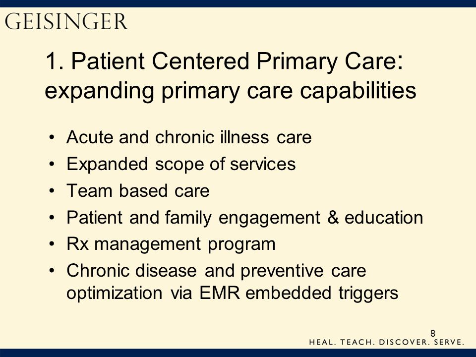 1. Patient Centered Primary Care: expanding primary care capabilities