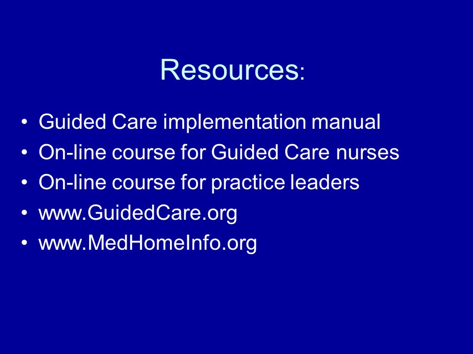 Resources: Guided Care implementation manual