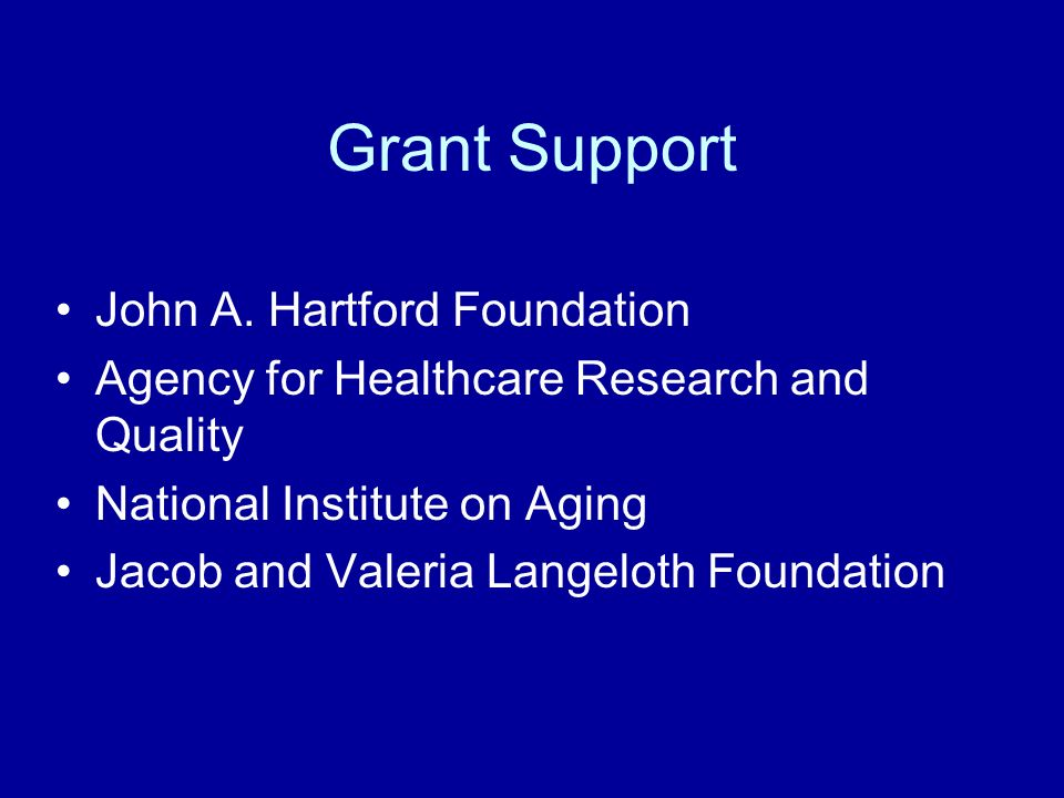 Grant Support John A. Hartford Foundation