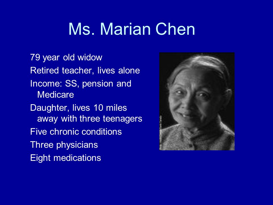 Ms. Marian Chen 79 year old widow Retired teacher, lives alone