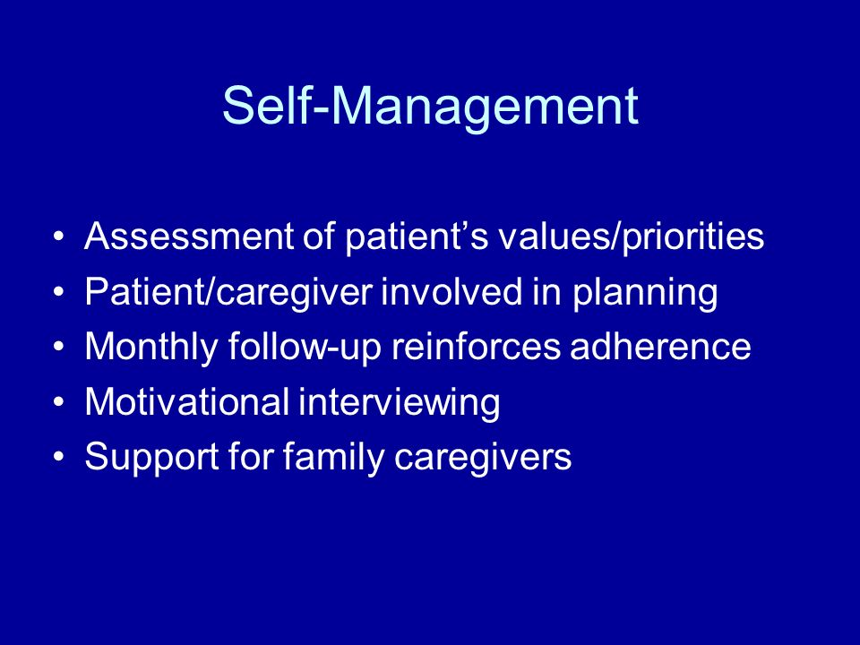Self-Management Assessment of patient's values/priorities