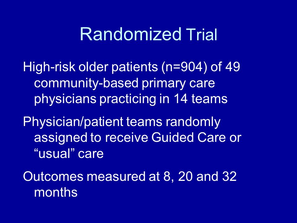 Randomized Trial High-risk older patients (n=904) of 49 community-based primary care physicians practicing in 14 teams.