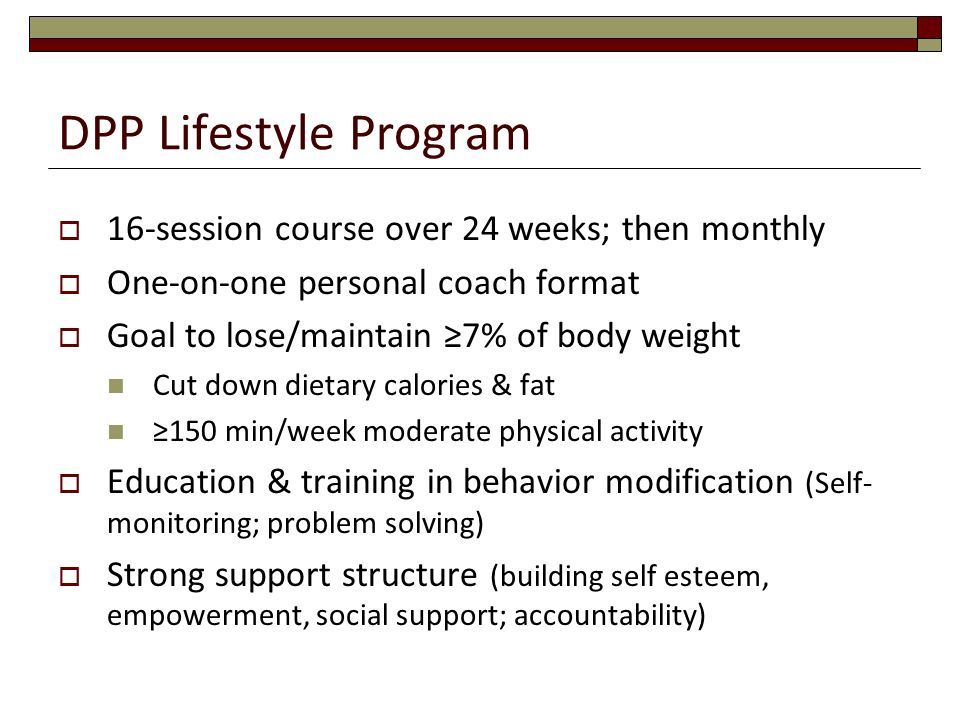 DPP Lifestyle Program 16-session course over 24 weeks; then monthly