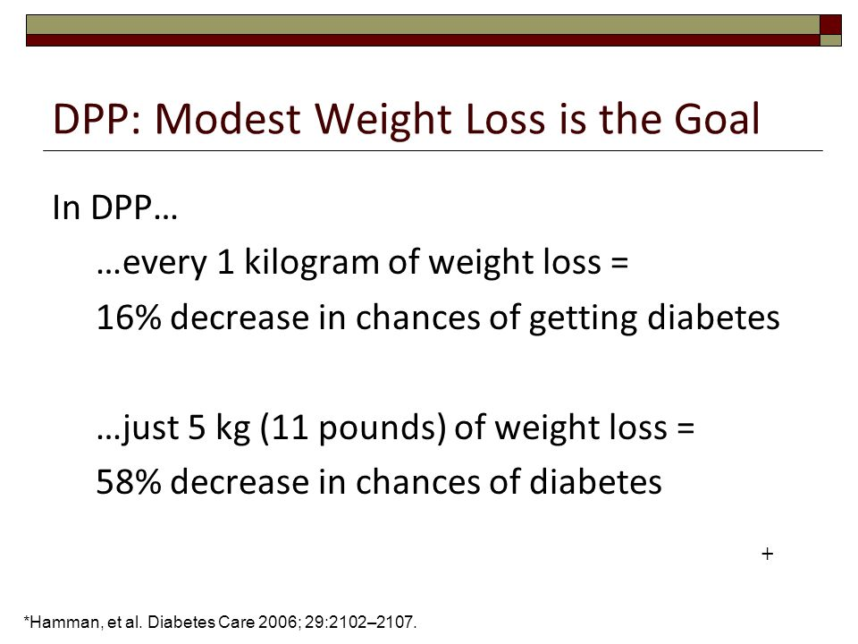 DPP: Modest Weight Loss is the Goal