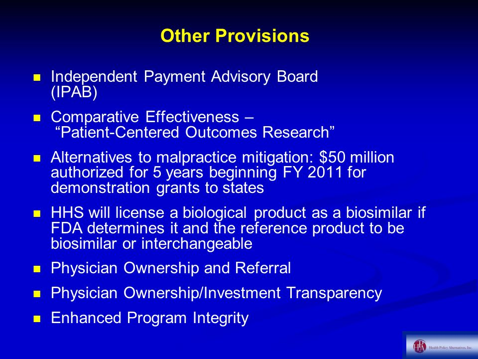 Other Provisions Independent Payment Advisory Board (IPAB)