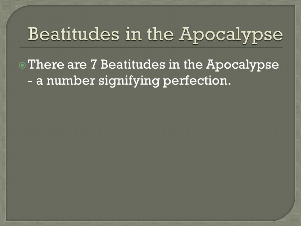 Beatitudes in the Apocalypse