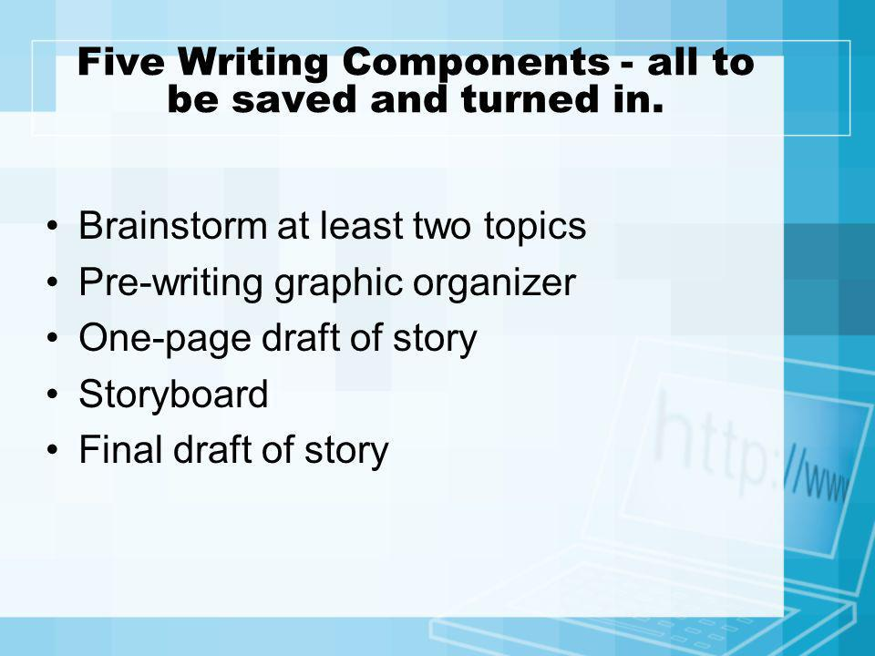 Five Writing Components - all to be saved and turned in.